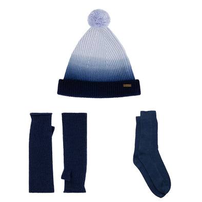 Gift Set - Beanie, Mittens and Socks in Blue (worth £229)