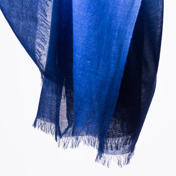 blue dipdye wool scarf