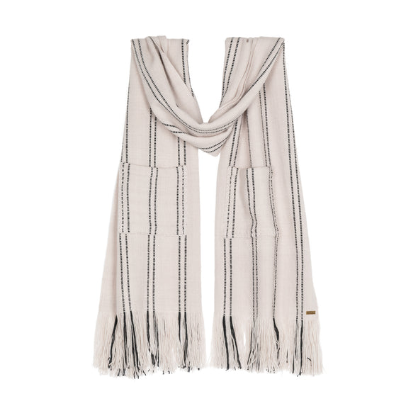 Travel blanket scarf wrap detailed section cream with black stripe broken stripe long fringe monochrome hand woven from Thread Tales company