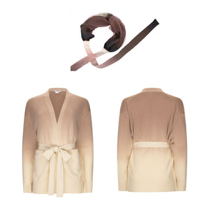 Gift Set - Dip Dye Cashmere Cardigan Caramel Ombre and Brown Headband (worth £349)