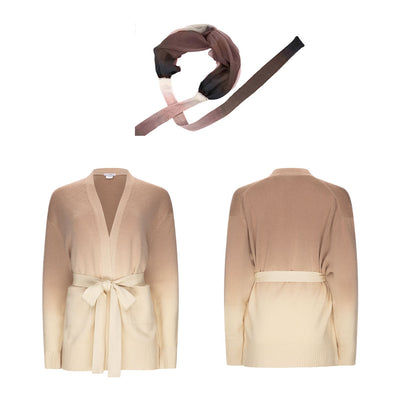Gift Set - Dip Dye Cashmere Cardigan in Natural Ombre, Complimentary Brown Headband (worth £335)