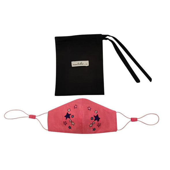 Child's Adjustable Silk Face Mask with Stars - Hot Pink