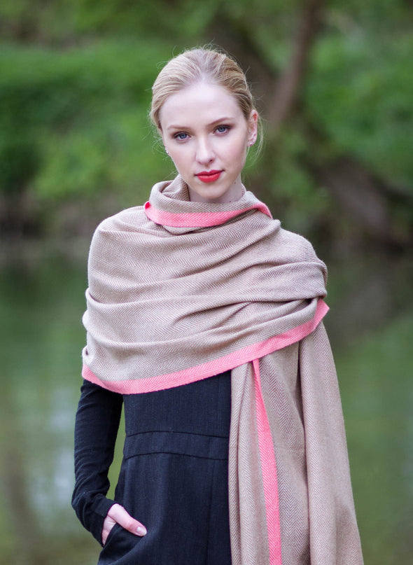 Hand Woven Cashmere Blend Neon Tipped Wrap Camel/Pink