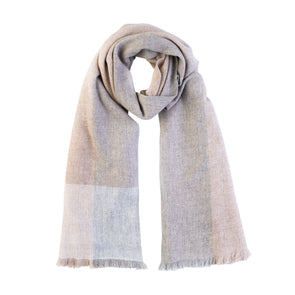 Neckloop folded scarf in neutral tones of cream, beige and soft blue in cashmere and wool handwoven finished with fringe from Thread Tales company