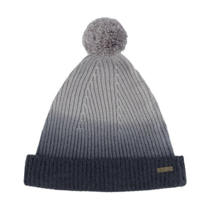 Knitted Beanie Bobble Hat Grey