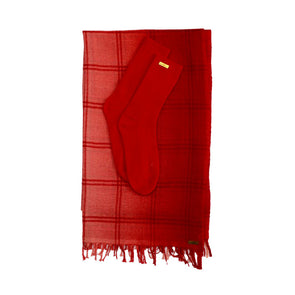 Gift Set - Dipped Edge Check with Recycled Cashmere Socks in Red (worth £139)