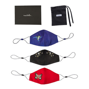 Gift Set - 3 Adjustable Silk Face Masks - Blue, Black and Red all with Embroidery (worth £90)