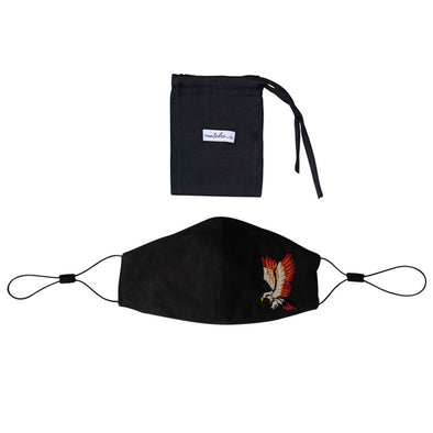 Adjustable Silk Mask with Embroidered Eagle - Black