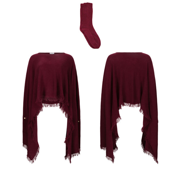Gift Set - Exaggerated Hem Poncho with Complimentary Cashmere Socks in Wine (worth £409)