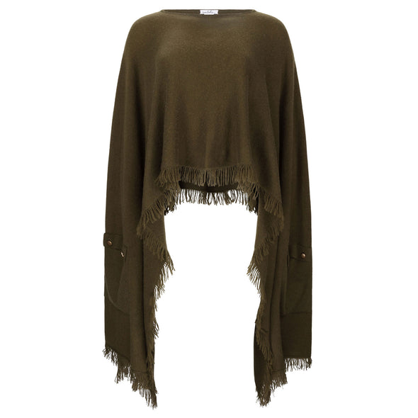 Exaggerated Hem Patch Pocket Poncho - Olive - 30% Off