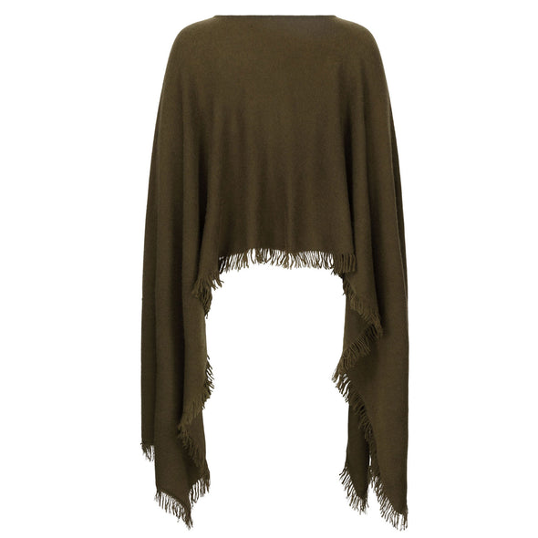 Exaggerated Hem Patch Pocket Poncho - Olive