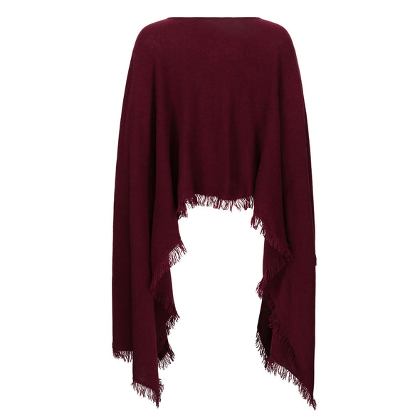 Exaggerated Hem Patch Pocket Poncho Wine - 30% Off