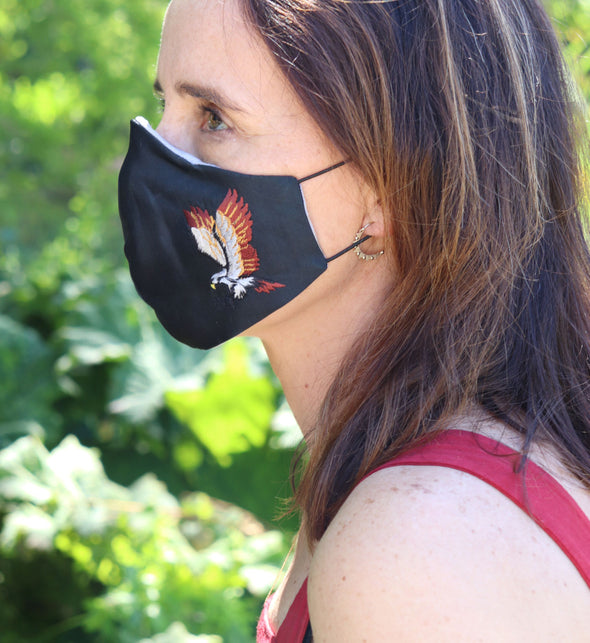 Adjustable Silk Mask with Embroidered Eagle - Black Large