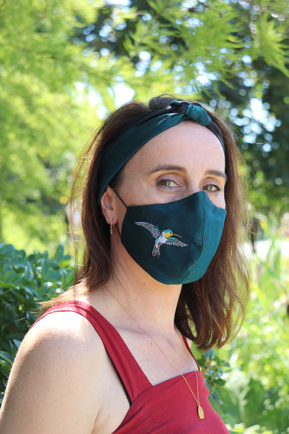 Silk Mask with Embroidered Hummingbird with Covered Elastic- Teal