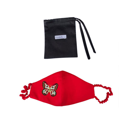 Silk Mask with Covered strap embroidered butterfly - Red