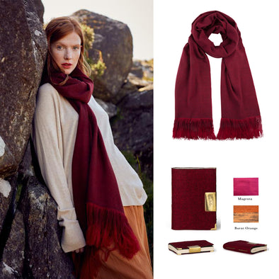Gift Set - Cashmere Ombre Fringe Scarf in Wine with Handmade Notebook (worth £325)