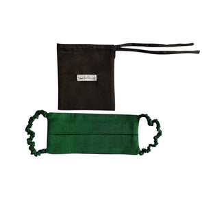 Reversible Silk Face Mask with Covered Elastic - Emerald