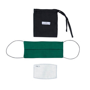 Reversible Silk Face Mask with Band - Emerald