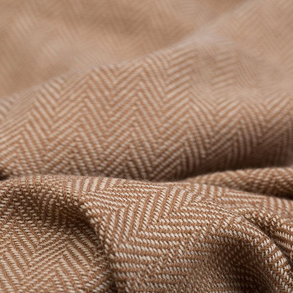 Folded detail of scarf camel beige blended with cream scarf with light pink stripe 2cm wide down both edges. As featured in The Sunday Times luxurious scarf from Thread Tales company