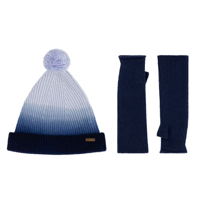 Knitted Beanie Bobble Hat & Mittens Set in Blue