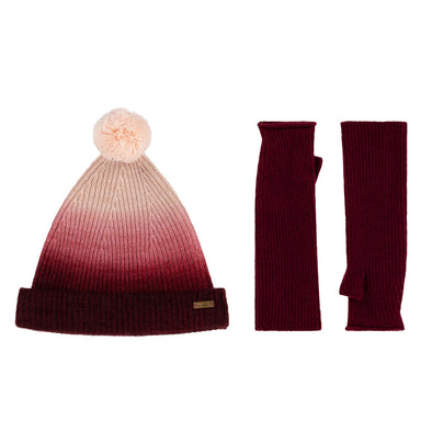Knitted Beanie Bobble Hat & Mittens Set in Red