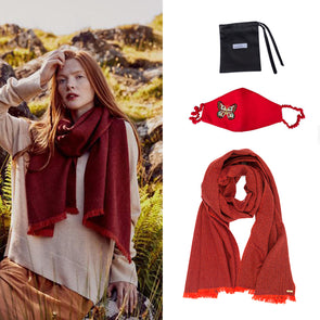 Gift Set - Red Herringbone Scarf and Silk Mask with Butterfly Embroidery (worth £209)