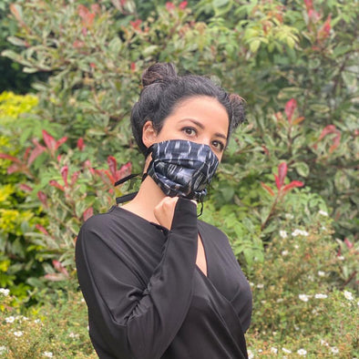 Reversible Silk Face Mask with Covered Elastic -Ikat Black and Grey Spot