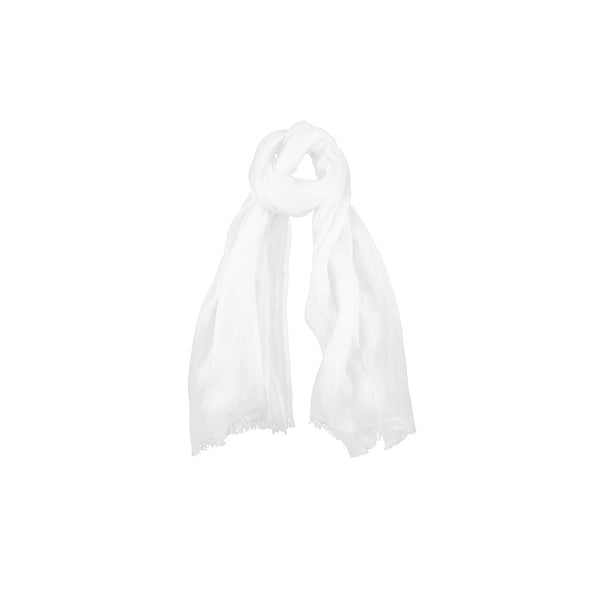 Neckloop white linen scarf hand spun handwoven from Thread Tales company