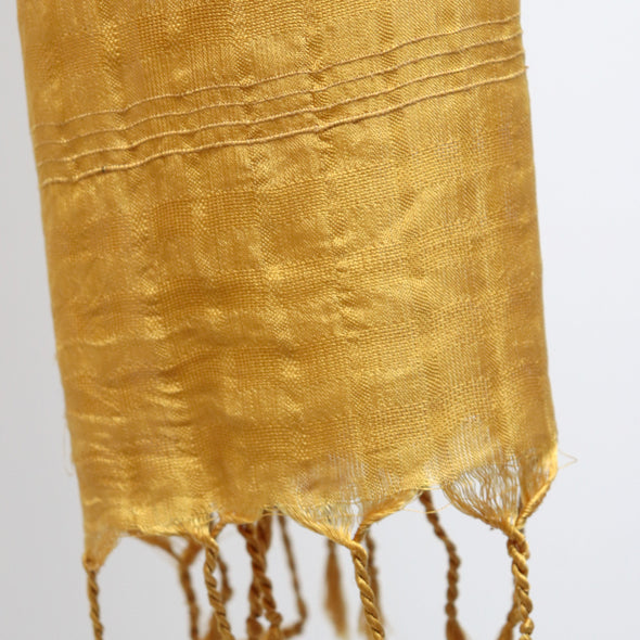 Mandalay Silk with Strands of Lotus Plant Dyed Wrap - Lotus Leaf