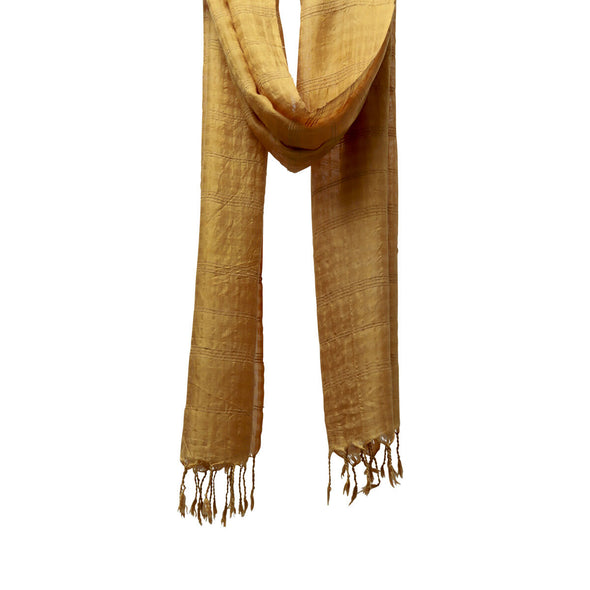 Plant Dyed Airy Strands of Mandalay Silk & Lotus Scarf in Lotus Leaf (mustard yellow)
