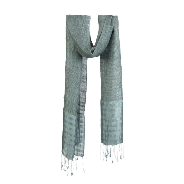 Lotus/Silk Border Stripe Scarf – Grey