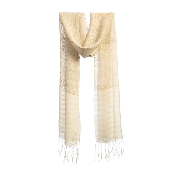 Airy Strands of Silk/Lotus Scarf – Ivory