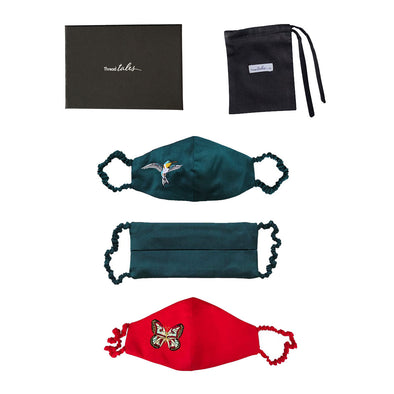 Gift Set - 3 Silk Face Masks with Covered Elastic - Teal or Red with Embroidery (worth £90)