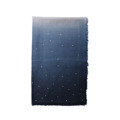Cashmere Ombre Scarf with Crystals and Pearls - Blue & Grey