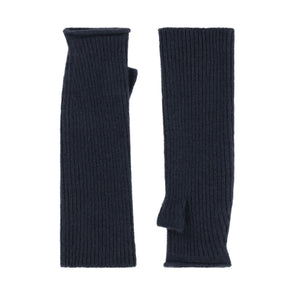 Knitted Fingerless Mittens - Grey