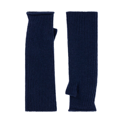 Knitted Fingerless Mittens - Blue