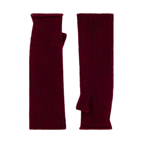 Knitted Fingerless Mittens - Red