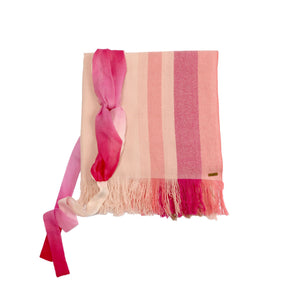 Gift Set - Brushed Cashmere Sunset Wool Scarf & Peace Mountain Headband in Pink (worth £180)