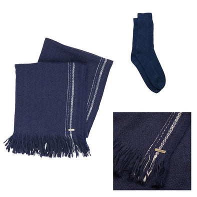 Gift Set - Indigo Selvedge Stripe Blanket Shawl with Recycled Cashmere Socks (worth £409)