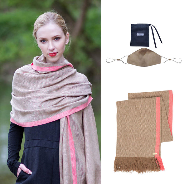 Gift Set - Neon Tipped Wrap Camel/Pink with Face Mask in Blush (worth £304)