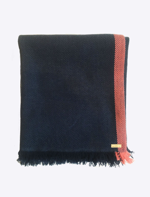 Hand Woven Cashmere Blend Neon Tipped Wrap Navy/Pink