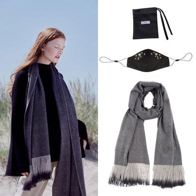 Gift Set - Ombre Fringe Scarf and Silk Face Mask with Stars Embroidery (worth £349)