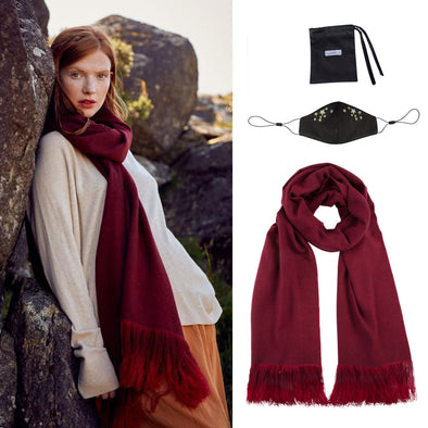 Gift Set - Ombre Fringe Scarf in Wine and Silk Face Mask with Stars Embroidery (worth £314)