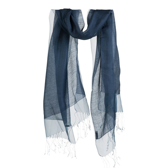 Hanging scarf shawl dark blue indigo silk double layer floaty effect sheer scarf from Thread Tales company