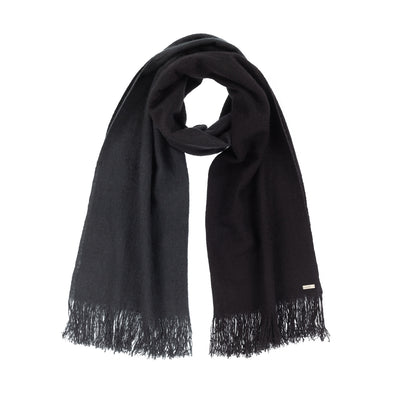 Neckloop of scarf dip dyed in subtle shades of dark grey to almost black. Made from wool, yak and cashmere, a soft and luxurious scarf from Thread Tales company