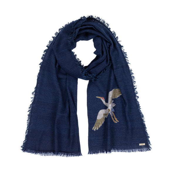 Lotus/Cashmere Spirit of Freedom Crane Scarf - 4-side Fringe