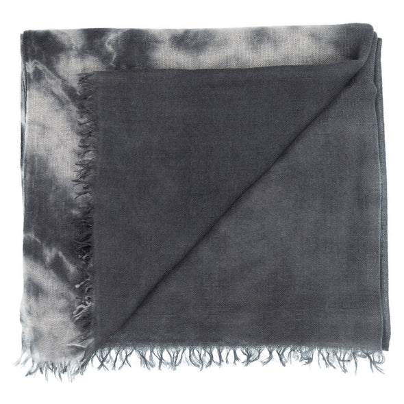 Folded detail grey shades hand tie-dyed scarf made from 100% certified cashmere by Thread Tales company