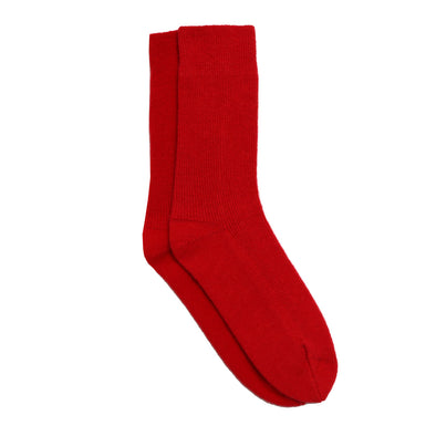 Knitted Recycled Cashmere Socks in Red