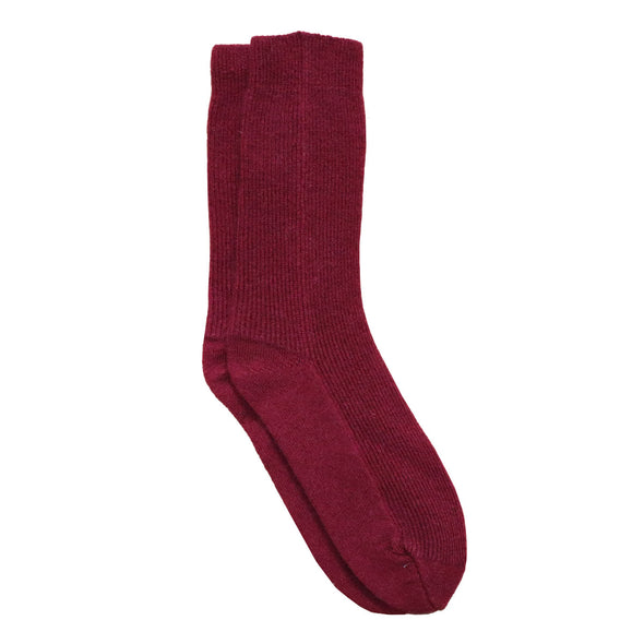 Knitted Recycled Cashmere Socks in Wine