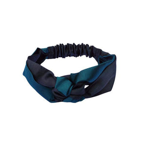 Silk Headband in Two Tone contrast - Emerald Green and Black